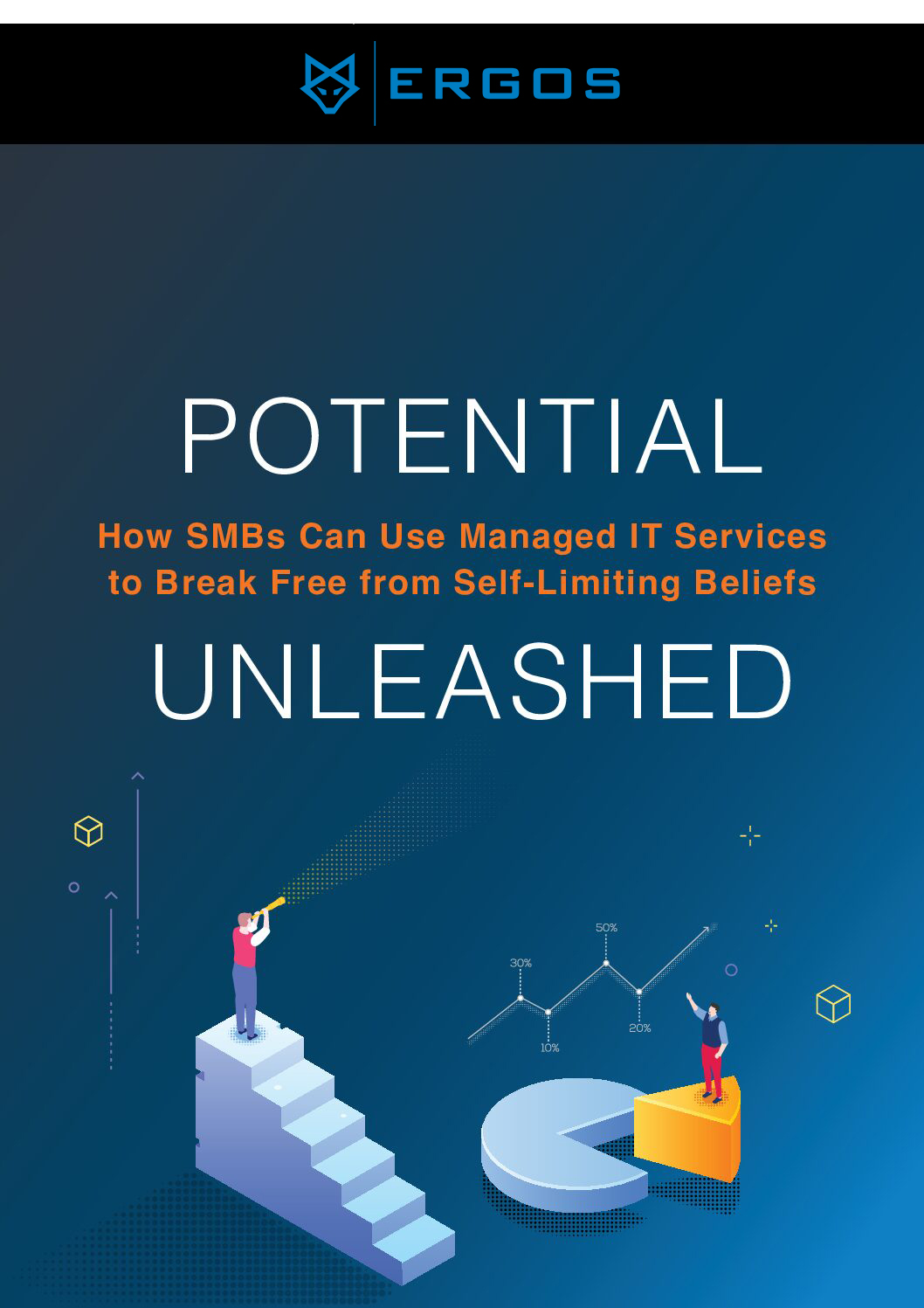 """Book cover for """"Potential Unleashed: How SMBs Can Use Managed IT Services to Break Free from Self-Limiting Beliefs"""""""